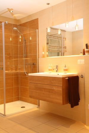 Luxury bathroom with a modern shower. photo