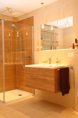bathroom tiles: Luxury bathroom with a modern shower.