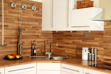 Details of modern kitchen decoration. Stock Photo