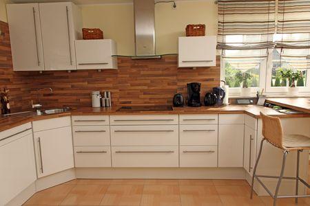 Modern kitchen interior in new home. photo