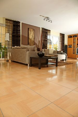 tiles floor: Interior of a modern living room.