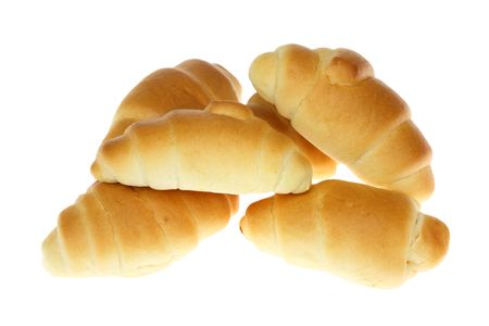 Group of mini croissants isolated on a white background. Stock Photo - 4808321