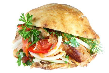 Doner kebab on a white background. Stock Photo - 4808343