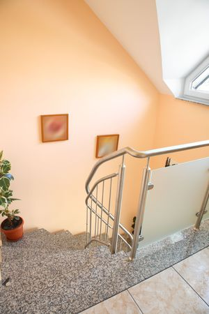 staircase structure: Detail of house interior with staircase. Stock Photo