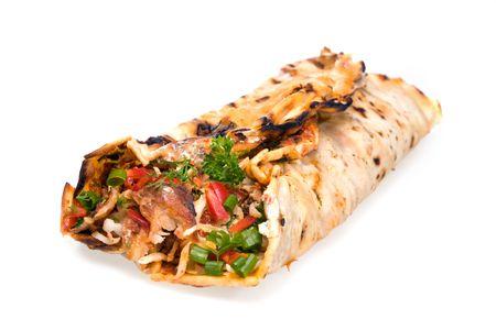 Doner kebab on a white background. Stock Photo - 5223967