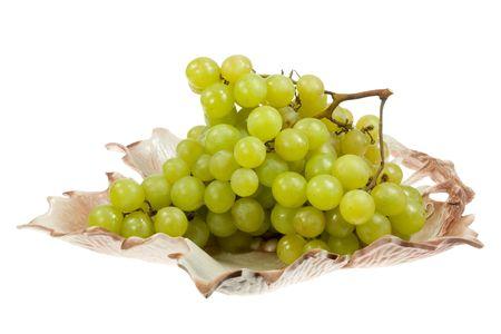 Bowl of grape on white.