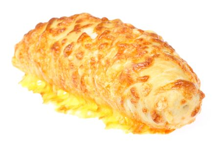 filled roll: Cheese filled roll on a white background. Stock Photo