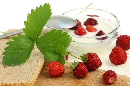 Breakfast with crispbread and wild berries. photo