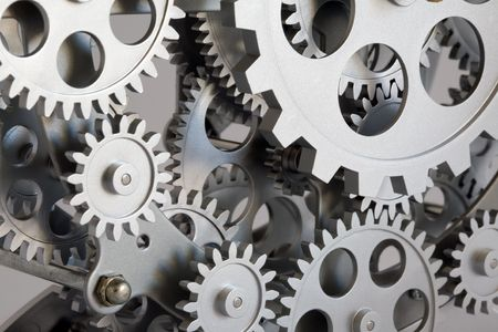 mechanical engineering: Part of gears in a mechanical clock.
