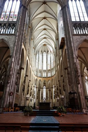 Cologne cathedral windows with stained glass.