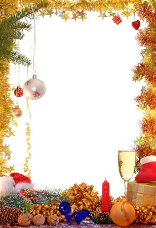 Christmas decorations of ball, ribbons and garlands.