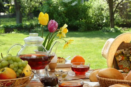 Breakfast tea and simple food in the garden. Stock Photo - 6562147