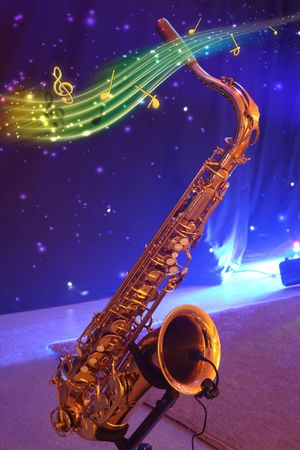 Saxophone with note signs on a blue background.