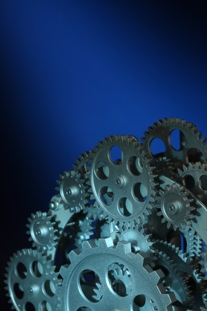 Part of gears in a mechanical clock. photo
