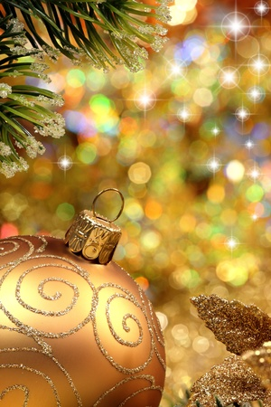 Christmas glitter ball and fir branch as christmas decoration. Stock Photo - 8327501