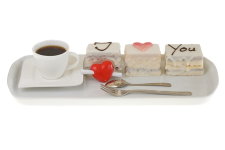 Valentines Day Cake isolated on a white background. Banco de Imagens