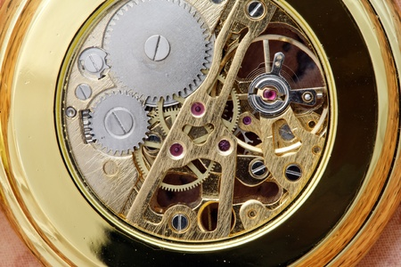 Close-up shot of gear coupling in pocket watch. Stock Photo - 9213615