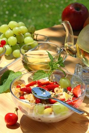 breakfast garden: Healthy breakfast in the garden. Stock Photo