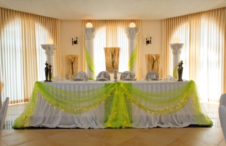 centerpiece: Head table for the newlyweds at the wedding hall. Editorial