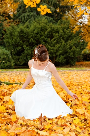gelb: Beautiful bride in autumn park.