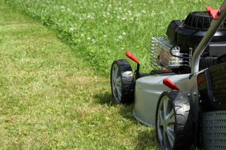 Silver lawn mower in the garden. (care)
