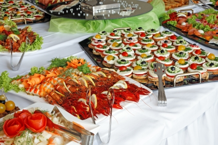 Holiday buffet food on the table. Stock Photo