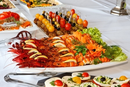 festive food: Holiday buffet food on the table. Stock Photo