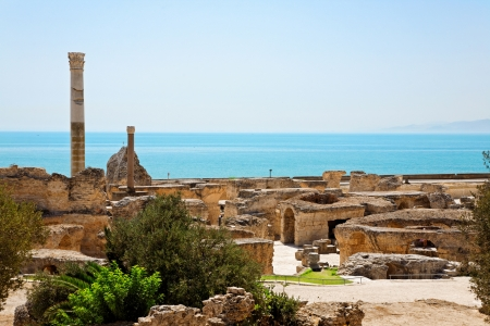 Ruins of ancient Antonine Baths in Carthage. Shot with polarizing filter. Stock Photo