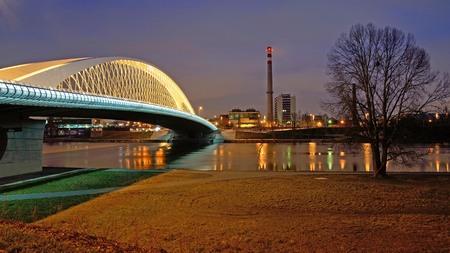 Troya bridde in Prag over the Vlatava river in the night with il