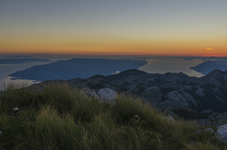 View from the top of Sveti Jure peak in the Biokovo mountains  Croatia. Brac island on the background. Stock Photo