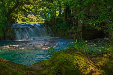 Una wild river in Grmusha canyon. Lohovo village near Bihac. Una wild River. Bosna and Hercegovina.
