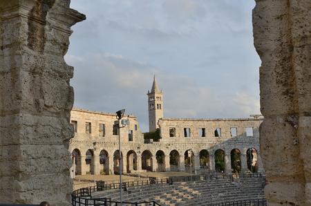 Historical Pula amfiteater  Croatia Banco de Imagens