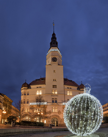 City hall in Opava in winter time with lighting ball, Czech Repu