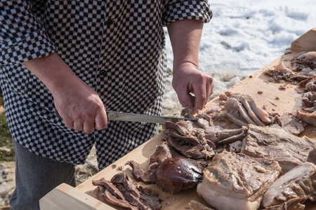 Meat preparing, cooked of entrails, Czech Republic 스톡 콘텐츠