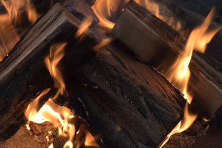 Fire flames with wooden pieces, fireplaces