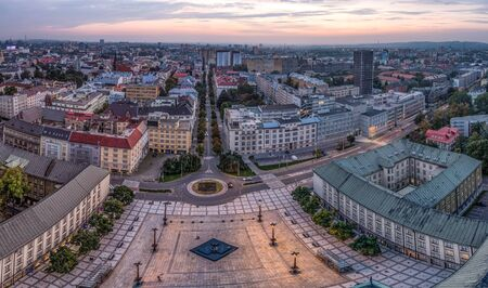 Extra wide view from Ostrava city hall in the nightt