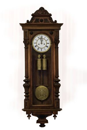 Grandfather clock in wooden case, europe, isolated