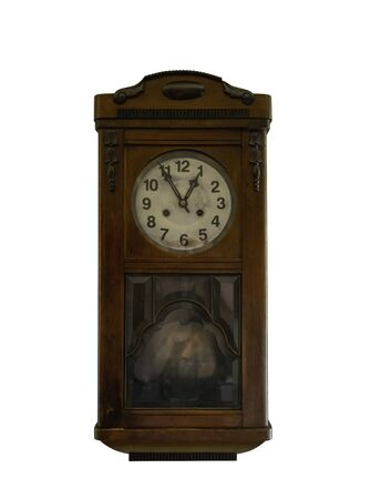 Grandfather clock in wooden case, europe, isolated Stockfoto