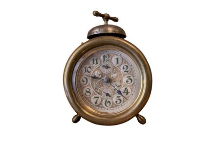 Old alarm clock with bell on the top, isolated Stockfoto