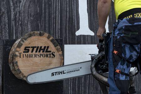 17 of October 2019, Editorial photo of STIHL Stock Saw, Stihl Timbersport show, Hejnice Czech Republic