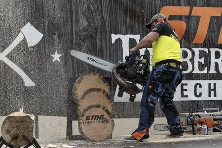 17 of October 2019, Editorial photo Martin Rousal of STIHL Stock Saw, Stihl Timbersport show, Hejnice Czech Republic Редакционное