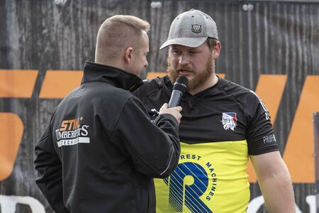 17 of October 2019, Editorial photo of Martin Rousal with speaker, Stihl Timbersport show, Hejnice Czech Republic