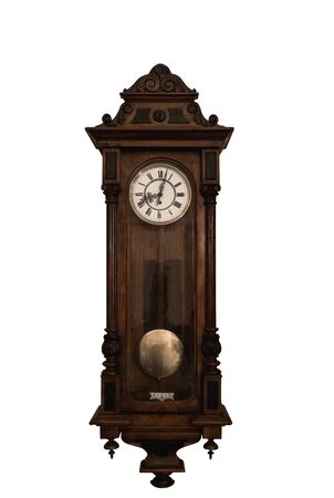 Grandfather clock in wooden case, isolated Banque d'images