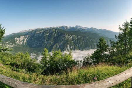 Panorama of Julian Alps mountain ridge with Triglav on the background, view from Vogel