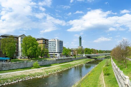 Extra wide panorama of view of Ostrava new city hall from the Ostravice river