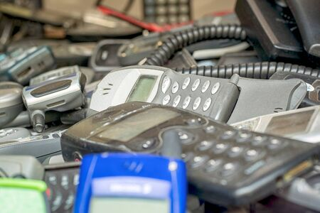 Group of old, historical mobile phones