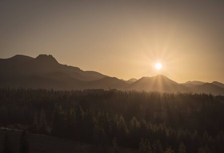 Golgen sunny sunset behind High Tatra mountain crest, Zawrat, Zakopane