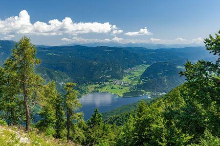 Panorama fo Bohinj lake in summer, view from Vogel, Julian Alpe,