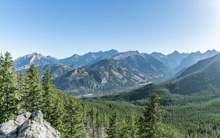 Extra wide panorama of High Tatra mountains, main crest, Zakopane, Poland Фото со стока