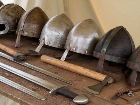 weaponry: Medieval weapon laying on a table